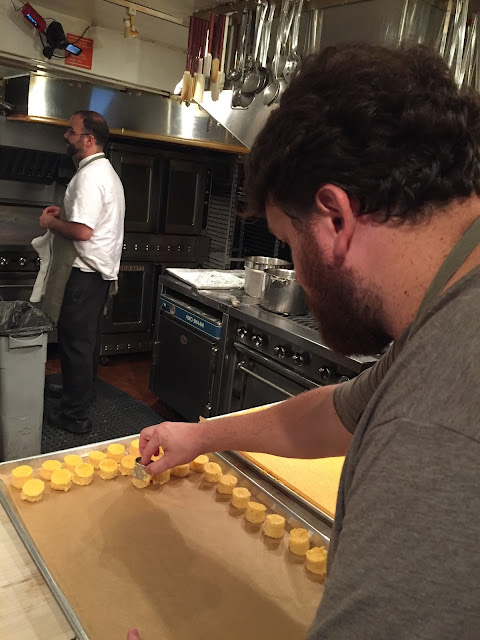 Jay Ducote portions out grits for one of the dishes at the James Beard House