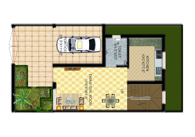 Ground Floor Plan of 2Bhk Duplex