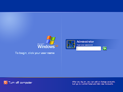 Tela de login do Windows XP
