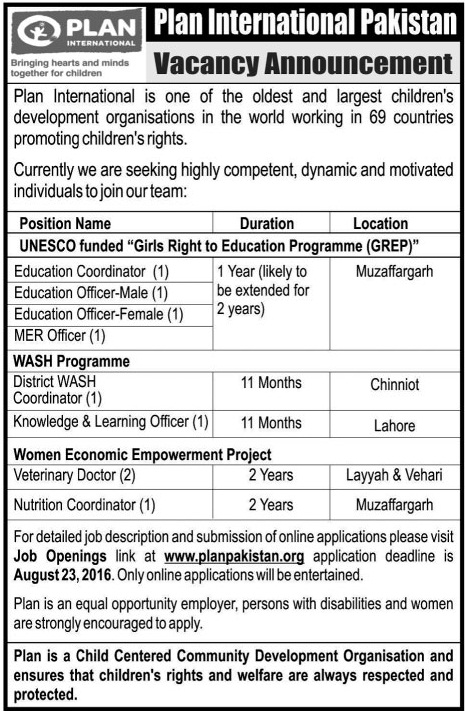 NGO Jobs in Pakistan Plan International Jobs of Education Program