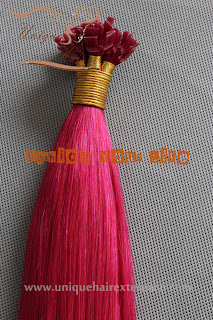 pre bonded hair extensions pink color