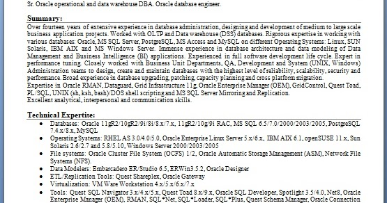 oracle database engineer sample resume format in word free
