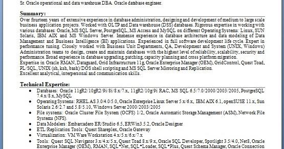 Oracle Database Engineer Sample Resume Format In Word Free
