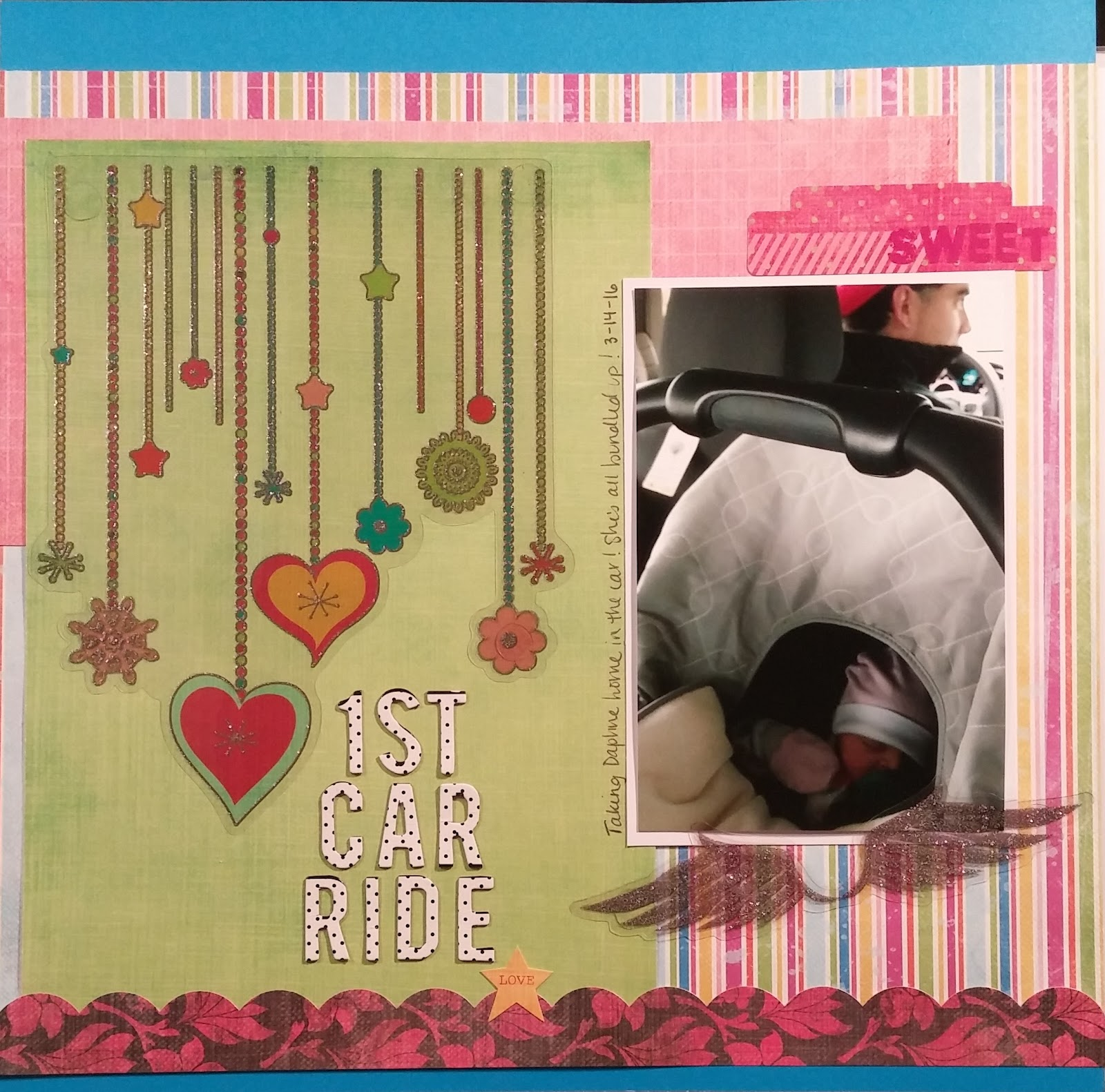 Baby scrapbook page ideas - On 1st Car Ride I Used The Patterned Paper Stickers And Transparent Embellishments From The Collection And I Added The Polka Dot Letter Stickers From