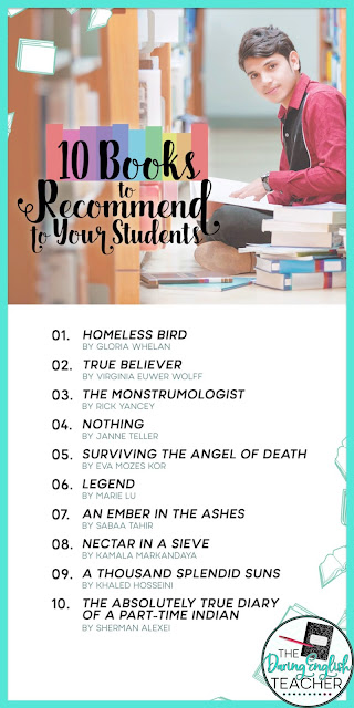 Ten Books to Recommend to Your Students (middle school and high school English)