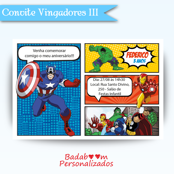 arte, digital, vingadores, heróis, avengers, convite, printable, imprimivel, internet