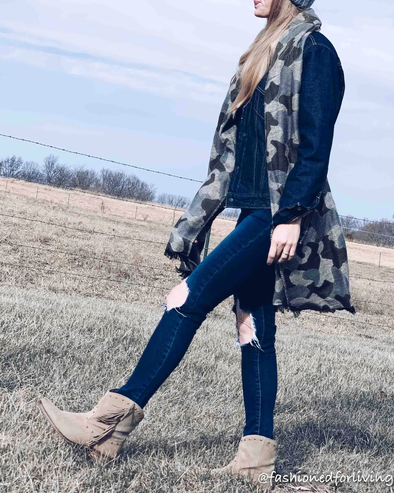 fringe cowboy boots, sherpa denim jacket, camo scarf