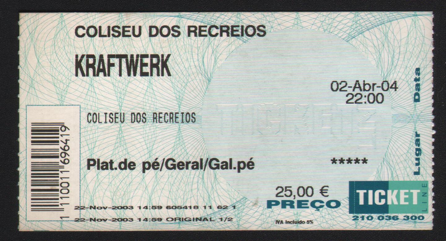 a9132b2b38e música esquisita  Memorabilia - Bilhetes (39) - Kraftwerk (Coliseu ...