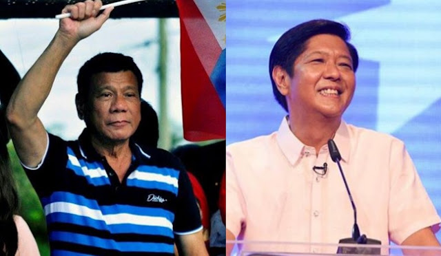 Mayor Rodrigo Duterte (left) tops presidential race; Senator Bongbong Marcos takes lead for VP.