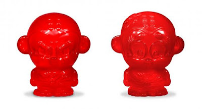 San Diego Comic-Con 2016 Exclusive Translucent Red Monkey Kung Fu Sofubi Chubs Vinyl Figures by Hyperactive Monkey - Shao Lu & Shao Mei