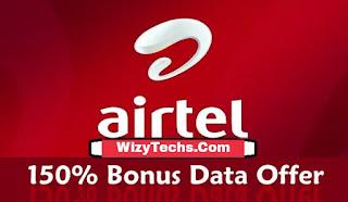 Airtel 150% data bonus