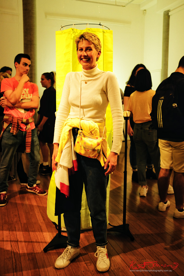 Sammie at AD Gallery tonight - Looking like P-Di right out of 1985! Photo by Kent Johnson for Street Fashion Sydney.