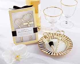 Gold Heart Bottle Stopper and Corkscrew Wine Set