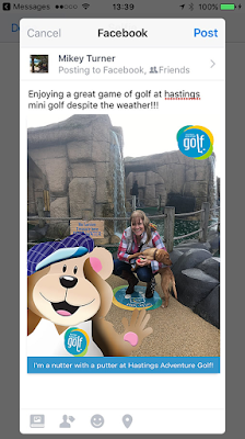 Sharing a mini golf selfie on facebook