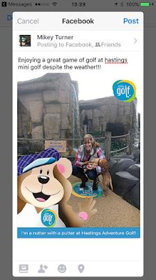 Sharing a mini golf selfie on facebook
