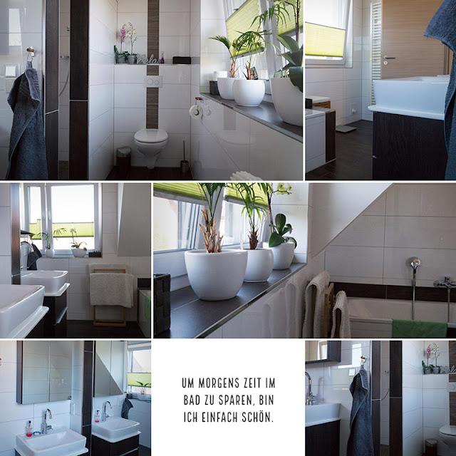Badezimmer-Gestaltung: Weiße Wände, Fliesen in Holzoptik und etwas Grün für die Seele