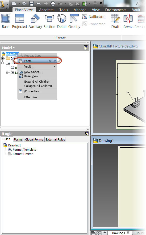 Copying a Drawing Sheet from One Drawing to Another in Autodesk
