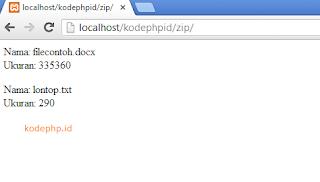 Cara menampilkan dan membaca ukuran file zip pada PHP