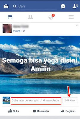Cara Menampilkan Latar Belakang Foto Pemandangan di Status Facebook
