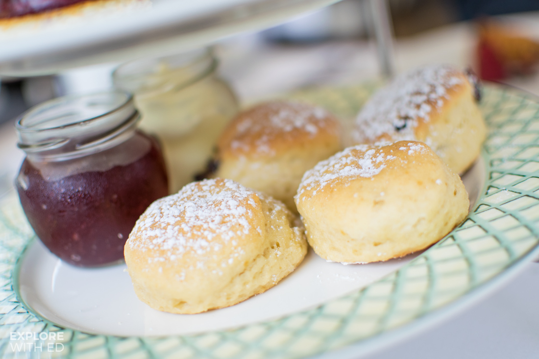 Vanilla and Raisin Scones with Clotted Cream and Jam