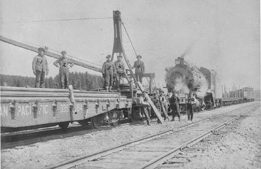 Unique moment in Chapleau railroading occurred as Robert Faught and Wilfred Muske arrive on The Dominion to retire in 1950