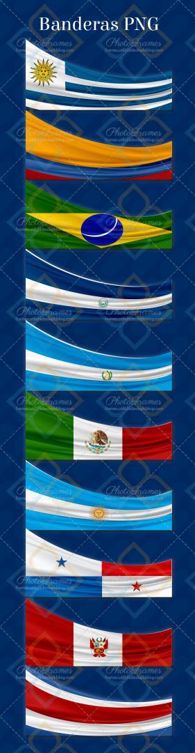 Set de banderas con fondo transparente