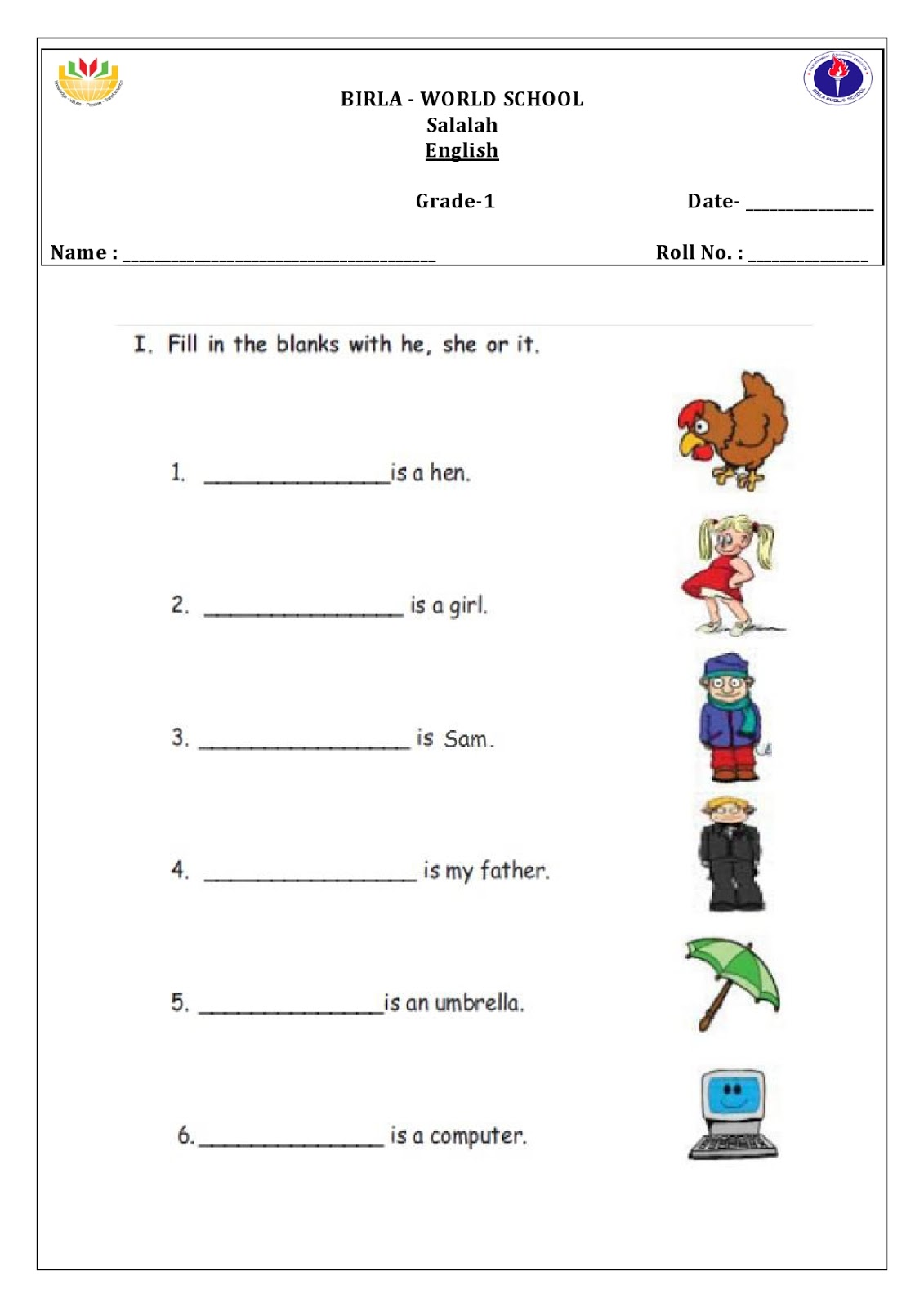 Birla World School Oman Homework For Grade 1b On 1 12 15