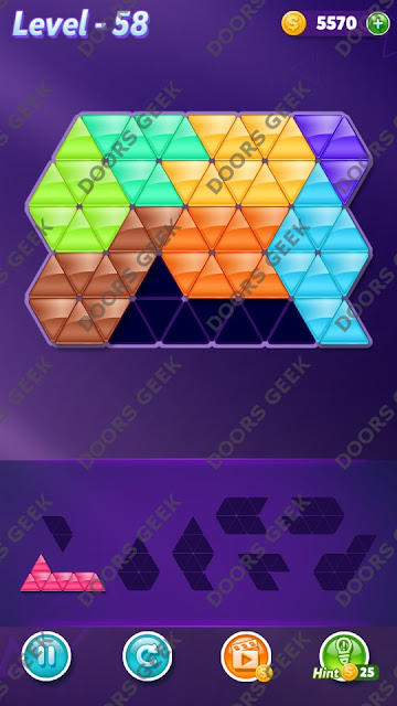 Block! Triangle Puzzle 8 Mania Level 58 Solution, Cheats, Walkthrough for Android, iPhone, iPad and iPod