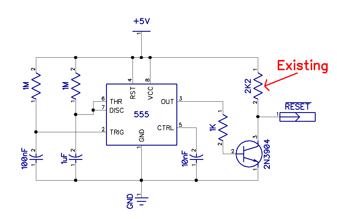 Tynemouth Software Oric 1 Repair Part Reset Circuitry Here Is My Main 555 Circuits Stub At Schematics Blog I Tried To Think Of A Way Adding That Neatly But One 8 Pin Chip Three Resistors Capacitor And Transistor Are Little Difficult Hide