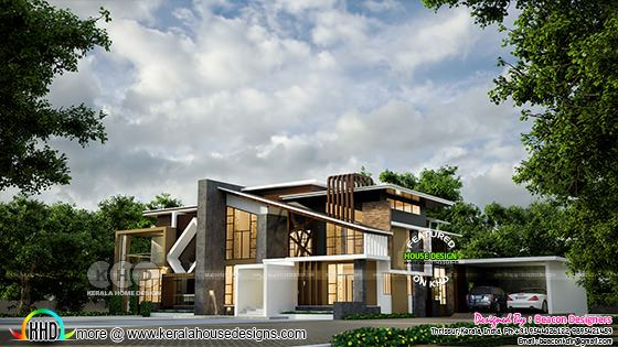 Rendering of a ultra modern home side view