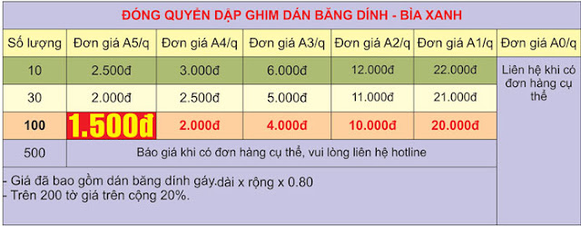 Bảng giá đóng sách dán băng băng dính giá rẻ tại Hà nội