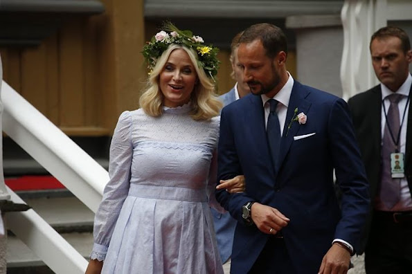 Princess Claire and Princess Mette-Marit wore Vilshenko Purple Lavender Cotton Pru Midi Dress by designer Olga Vilshenko