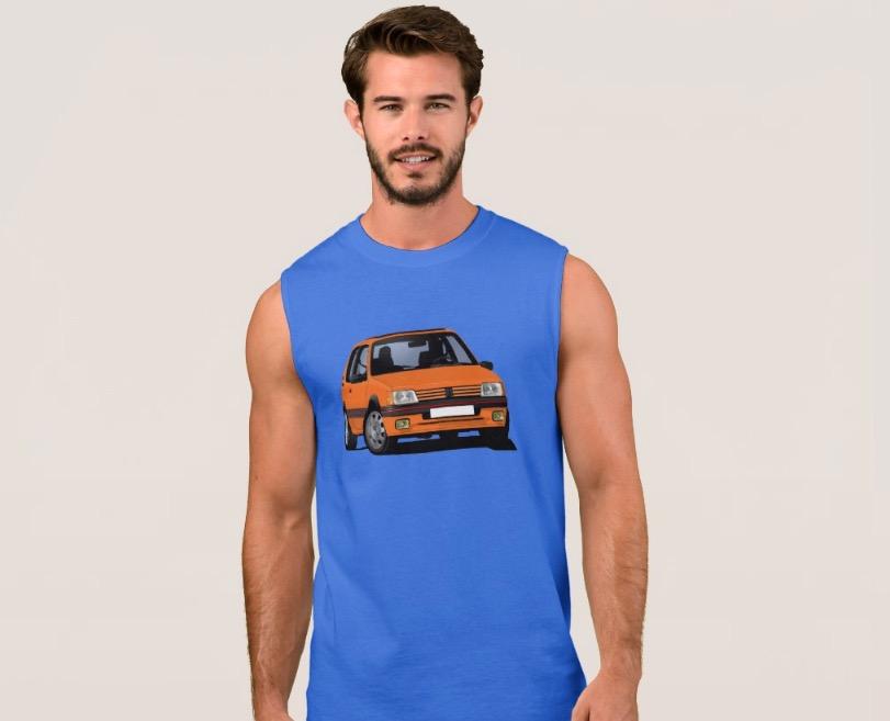 Orange retro Peugeot 205 GTi hot hatch t-shirt