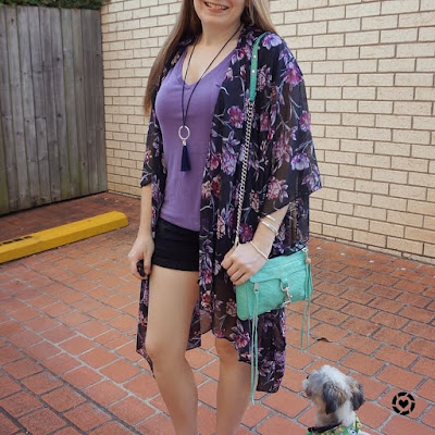 awayfromtheblue Instagram SAHM style target purple floral kimono black denim shorts v-neck tee mini mac bag