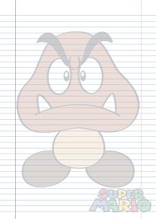 Folha Papel Pautado Fold Goomba em PDF para imprimir folha A4