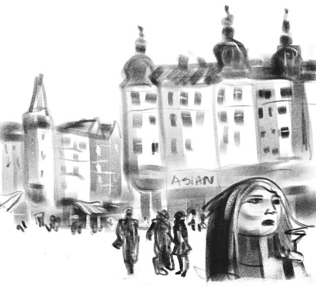 Urban sketch Möllan Malmö by Ulf Artmagenta