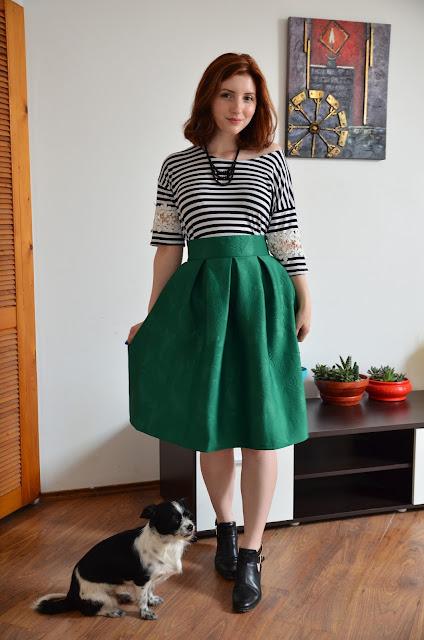 fusta midi verde