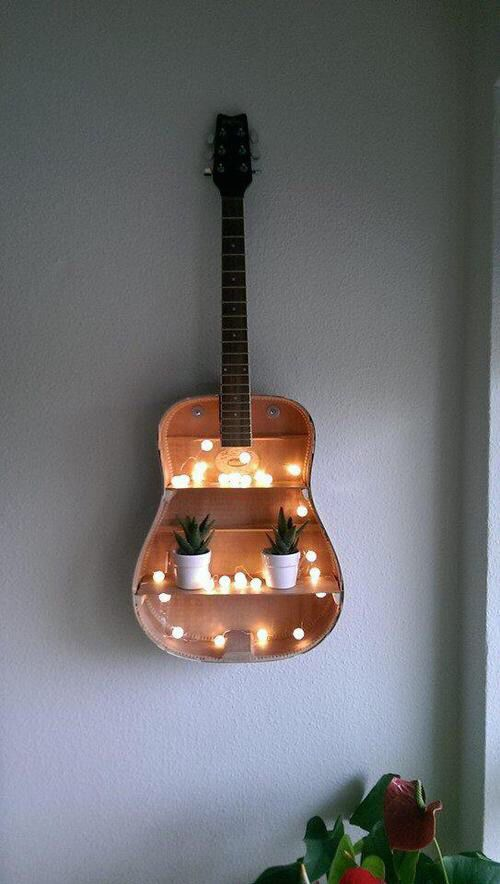repurposed guitar wall shelving