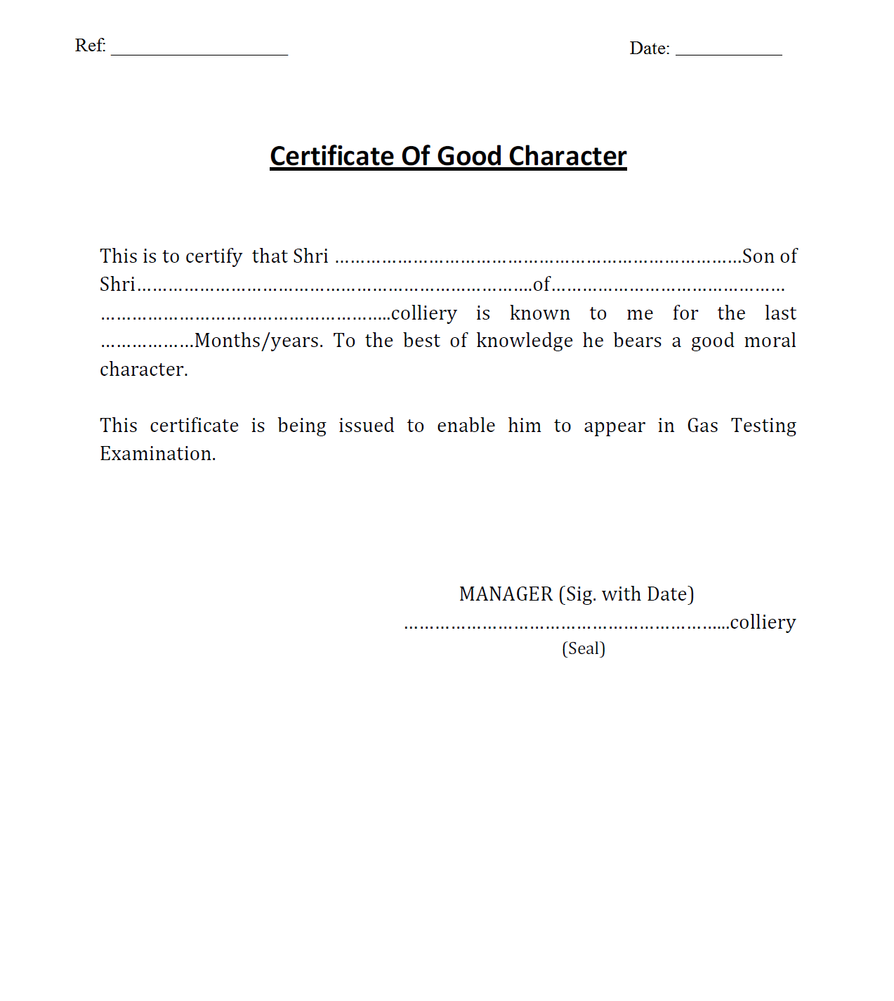 Character Certificate For Gas Testing Exam