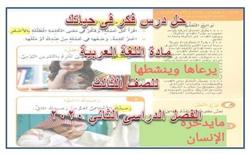 حل درس فكر فى حياتك لغة عربية للصف الثالث الفصل الدراسى الثانى 2020- الامارات
