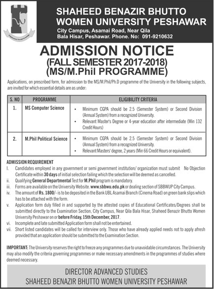Admissions Open in Shaheed Benazir Bhutto Women University Peshawar