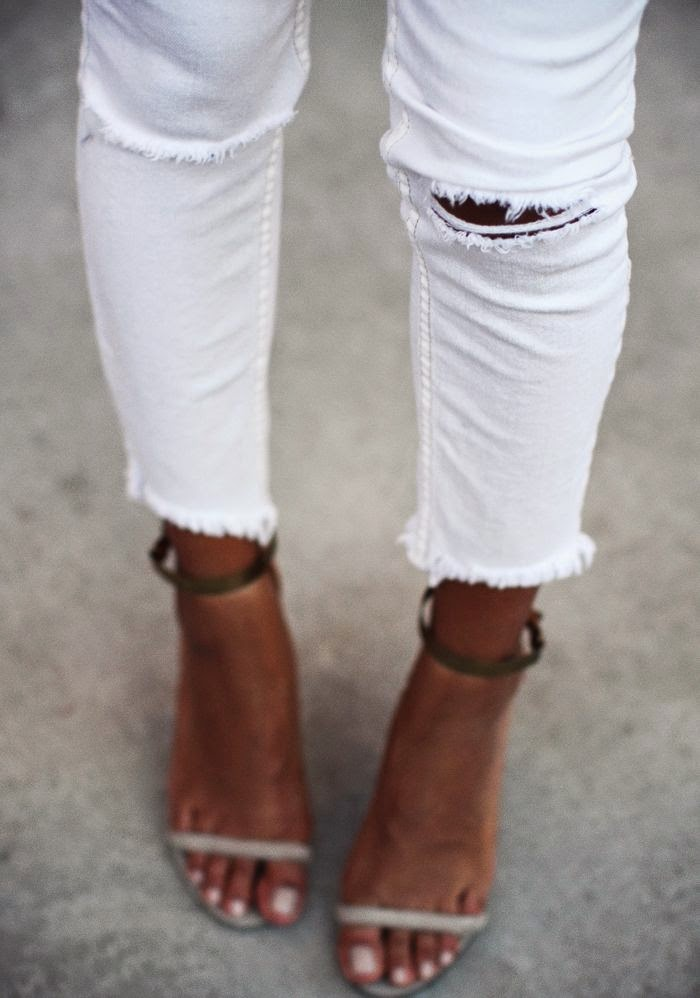 sincerely jules topshop white ripped jeans isabel marant sandals
