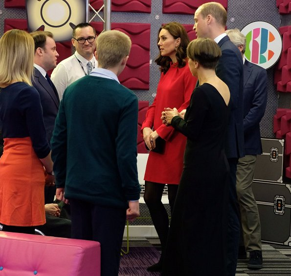 Kate Middleton wore L.K. Bennett Delli Coat, Goat Elodie Dress, Tod's Pumps, Mappin&Webb Earrings
