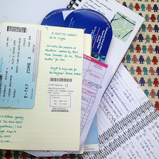 Several notebooks with writing in