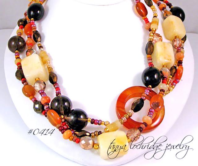 Tanya Lochridge Jewelry Carnelian, Smoky Quartz, Aragonite, Moonstone, Jade, African Opal Gemstone Necklace