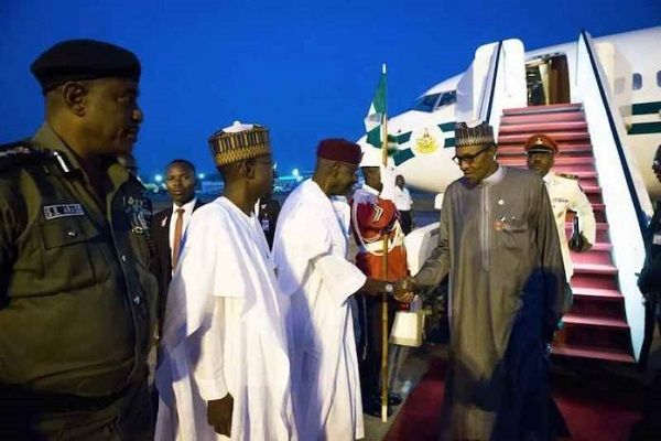 Buhari returns to Nigeria after London stopover