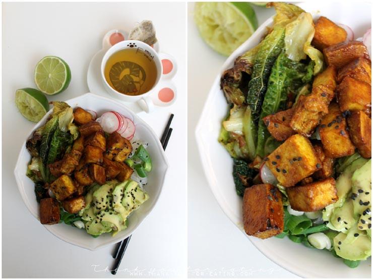 Grünkohl Buddha Bowl mit Tofu