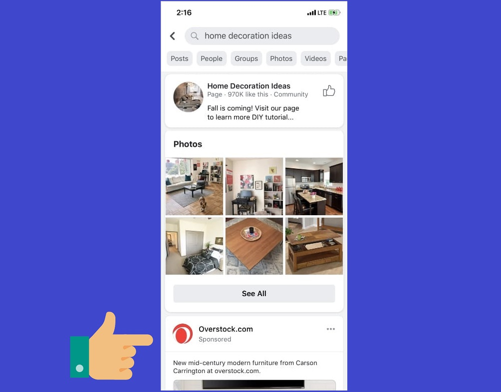 Reach people who are actively shopping with ads in Facebook Search Results