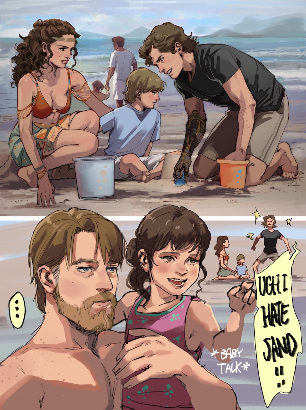 Padme, Anakin and Obi wan with kids on the beach