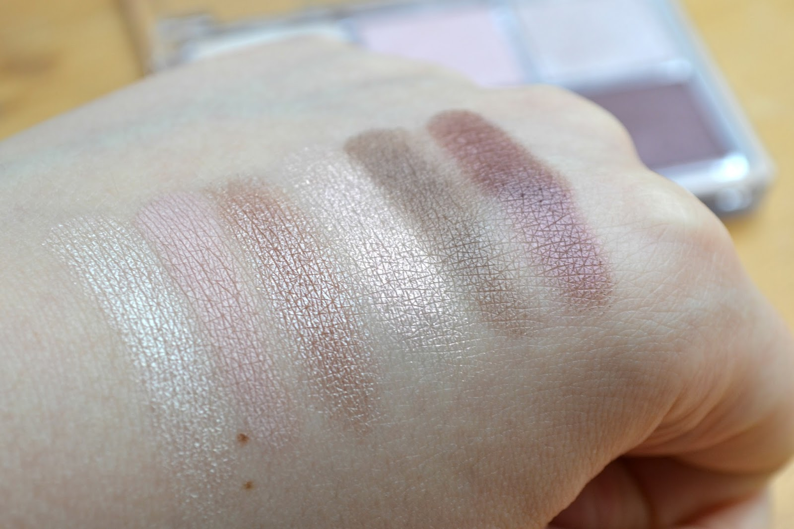 Swatches of the All About Nude eyeshadow palette